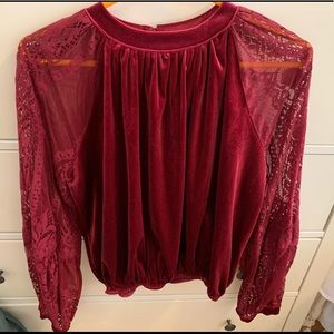 Free People velvet top with Lacey sleeves